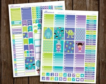 Scare Team Weekly Kit | PRINTABLE pdf jpg | Disney Monsters Inc Inspired Planner Stickers | Sulley Mike | fits Erin Condren or Recollections