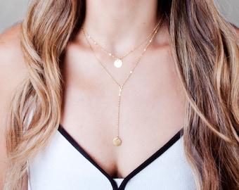 Lariat Necklace, Gold Y Necklace, Gold Disc Necklace, Personalized Necklace, Drop Necklace, Initials necklace, Minimal Y Necklace Short