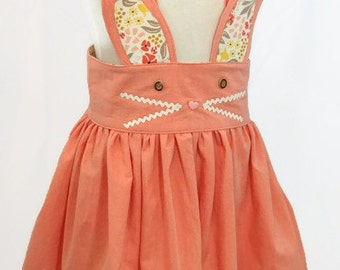 Girls Bunny Suspender Skirt - Girls Easter Skirt - Girls Spring Skirt - Girls Easter Dress - Girls Bunny Dress