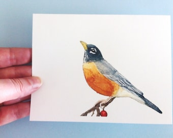 Watercolor Bird Card - Robin