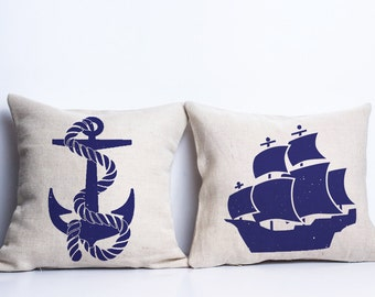 Nautical Decor Nautical pillows Nautical pillow covers Anchor pillow Vessel pillow