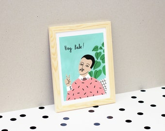 """Hey babe!"" illustration / Print / postcard / 10x15cm"