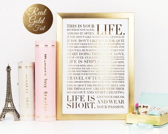 Life Manifesto Poster, This Is Your Life Manifesto, Motivational Print, Gold Foil, Typographic Poster, Wall Art, 8x10 Print.