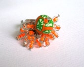 "SET hoop earrings, ring ""Freshly"" polymer clay bead unique beads fantasy orange tropical green beads cane polymer earrings hoop glass beads"