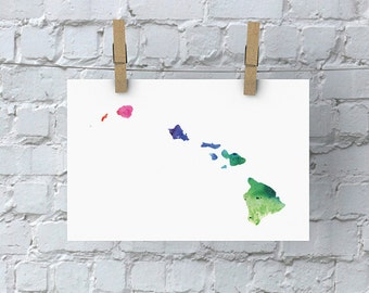 Hawaii Watercolor Map - Giclée Print of Hand Painted Original Art - 5 Colors to Choose From