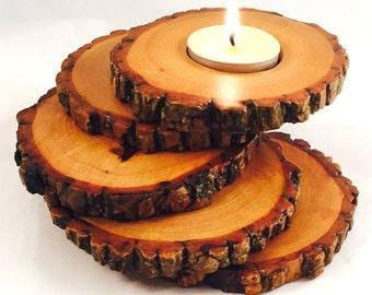 Spiral Tiered Tea Light Wood Candle Holder