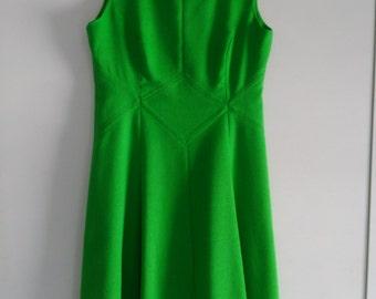 Lovely green 60's, 70's cotton sleeveless dress