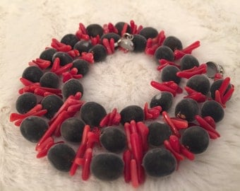 Velvet RARE Hawaiian Seeds/ Red coral Stones  / Exotic Mgambo Seeds/ Necklace and bracelet set/ FREE EARRINGS