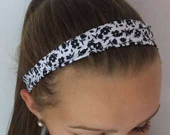 White with Black Floral Elastic Headband