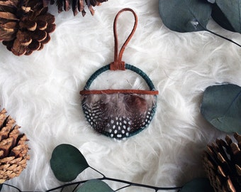 Rustic Christmas Ornament - Small Dreamcatcher Ornament - Christmas Gifts Under 20 - Bohemian Holiday Decor - Modern Dream Catcher