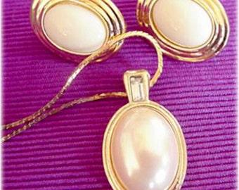 Avon Mobe Pearl Pendant with Rhinestone Plus Earrings, Gold Tone