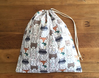 Drawstring Bag/ Library Bag - Forest Animals