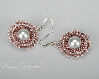 Round earrings Pearl earrings Trendy earrings Light pink earrings Gray earrings