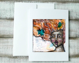 Blank notecard, whimsical portrait, wild hair woman, handmade greeting card, gift for mom, card for sister, illustration, personalize