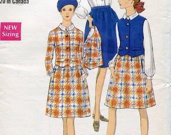 FREE US SHIP Vogue 7378 Vintage Retro 1970s 70s Suit Jacket Skirt Blouse Vest 10 Bust 32.5 Factory Folded Sewing Pattern