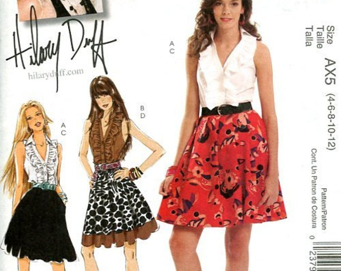 FREE US SHIP McCall's 5803 Hillary Duff Top Skirt 2009 Sewing Pattern Brand New Size 4 6 8 10 12, Bust 29 30 31 32 34, (Last size left)