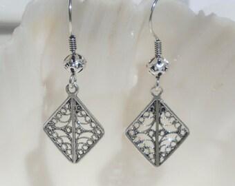 Antiqued sterling silver drop earrings