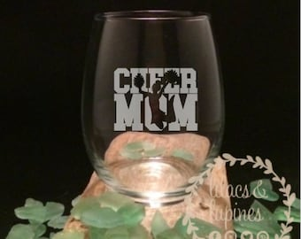 Cheer Mom Etched Stemless Wine Glass | Etched Wine Glass Cheer Mom Wine Glass Football Glass Cheerleader Mom Wine Glass Cheerleader Mom Gift