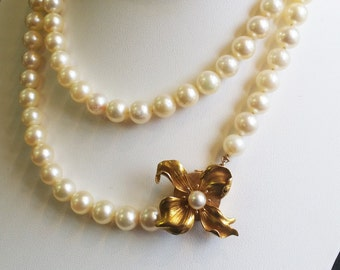 8mm Pearl Necklace, 14kt Yellow Gold Center Clasp