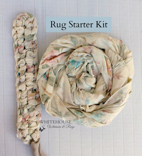 Amish Knot/Toothbrush Rug Starter Kit Oval/Floral DIY Rag Rug