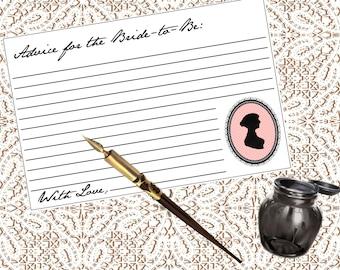 Jane Austen Bridal Shower, Bride Advice Cards, Bride-to-Be, Bridal Shower, Printable, PDF, Instant Download