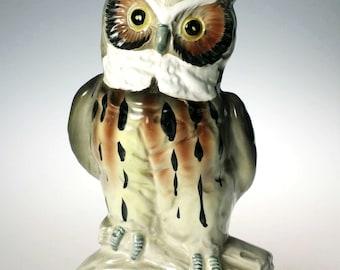 Nippon Yoko Boeki Great Horned Owl Bird Figurine Japan Ceramic
