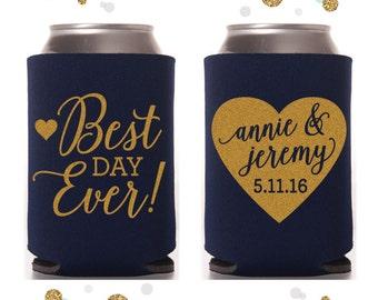 Best Day Ever - Heart - Wedding Can Cooler #41 - Custom - Bridal Wedding Favors, Beverage Insulators, Beer Huggers