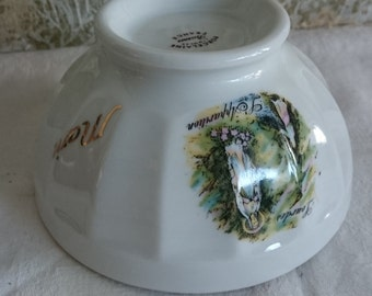Small French Café au Lait, Lourdes Souvenir Bowl, Vintage Limoges Breakfast Bowl, Fruit or Cereal or Coffee Bowl,