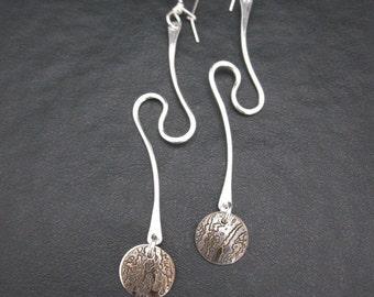 Dangle Earrings, Silver Dangle Earrings, Silver Wire Earrings, Mixed Metal Earrings, Lightweight Earrings, Handmade Earrings