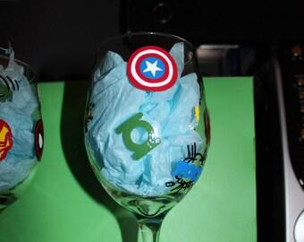 One (1) Super Hero Themed Wine Glass