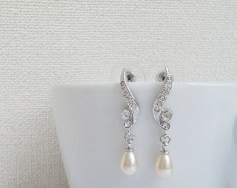 Silver - CZ & pearl earrings