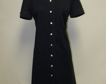 2551 - New Listing - Vintage THE VILLAGER Day Dress Size L Navy Blue Knee Length Short Sleeves 1970s Polyester Washable