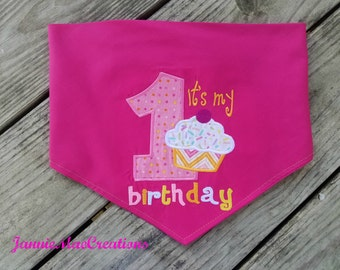 It's My 1st Birthday Embroidered Dog Bandana - 1st Birthday dog scarf - photo prop
