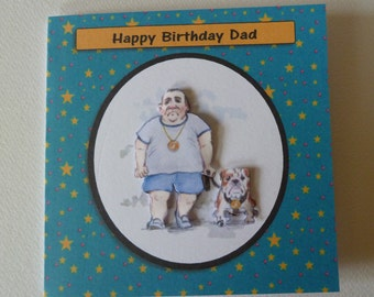 Fun, 3d Decoupaged, Dad British Bulldog Birthday card which can be personalised