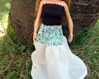 Cotton and chiffon skirt for Lammily or curvy Barbie