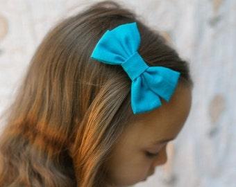 Teal Blue Bow - Teal Blue Girls Hair bow - Teal Blue Hair Bow - Teal Blue Fabric Hair Bow - Teal Blue Bow Hair Clip - Fabric Hair Bow