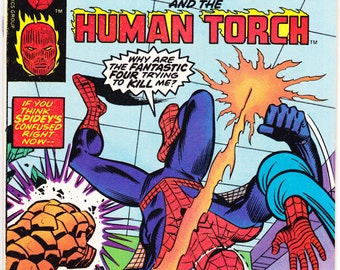 Spiderman comic book, Marvel Team Up 61. Amazing Birthday Party Gifts, The Human torch from Fantastic Four. 1977 Marvel Comics in FVF (7.0)