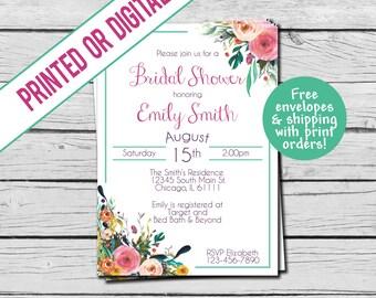 Printed or Digital File - Floral Bridal Shower Invitation