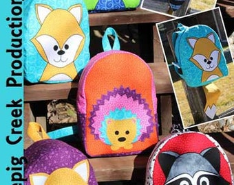 "Children's Backpack PATTERN: ""From the Woods"" Cute Hedgehog, Fox and Racoon!"