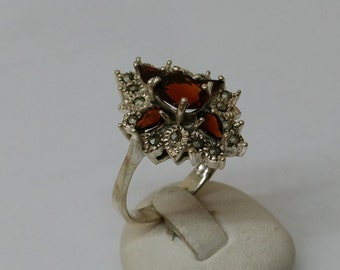 Antique Hessonite Garnet ring Markasiten SR419