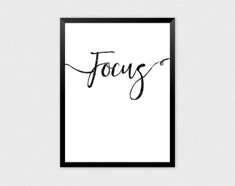 Focus Quote | Work Hard Poster, Work Hard Print, Work Hard Wall Art, Work Hard Quotes, Cute Office Decor, Motivate Office Art, Get to Work