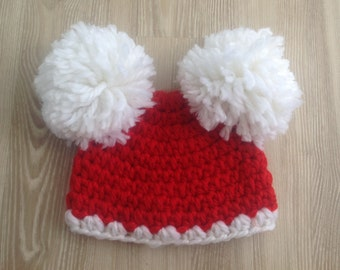 SALE, Santa Hat, Baby Christmas Hat,Holiday Hat for your photos, sized 3-6 months. Pre Holiday SALE!