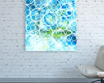 Geometric canvas print Geometric Large Abstract Painting Geometric Colorful Oversized Sky blue white Geometric turquoise Geometric Big Huge