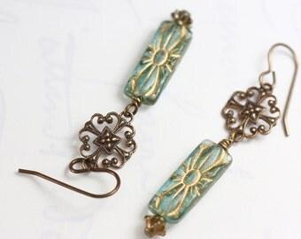 Aqua Earrings, Filigree Earrings, Floral Earrings, Aqua Dangle Earrings, Art Nouveau Style Earrings, Aqua, Filigree, Art Nouveau, Brass