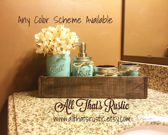 Rustic planter box mason jar bathroom set bathroom set mason for Bathroom decor mason jars