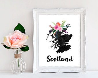 Available For All Country, Scotland Map, Scotland Print,Scotland Art, Scotland Printable, Floral Scotland, Map Of Scotland, Scotland Gift