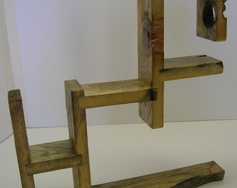 Small wood shelf made of recycled pallet wood