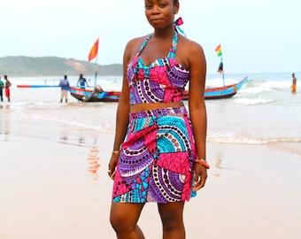 Ahanta Babe // High-waist skirt // African print skirt // Ankara clothing // Festival two piece // African skirt // Festival clothing //