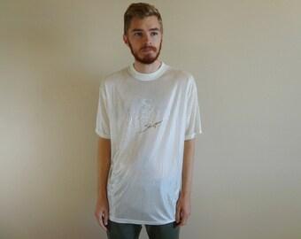 90s Shanu Amanu Shiny Translucent White T-Shirt ~ Size Large ~ Afrocentrism