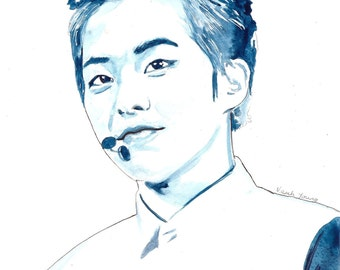 EXO Watercolour Portrait Print: Xiumin (Kim Minseok)